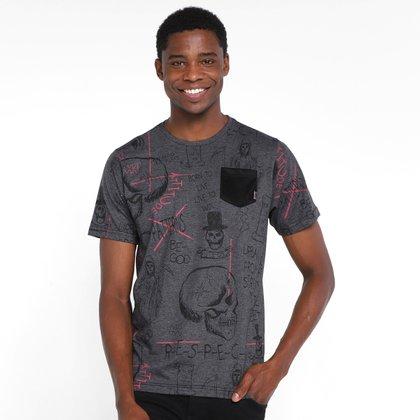 Camiseta Overcore Estampada Bolso Masculina