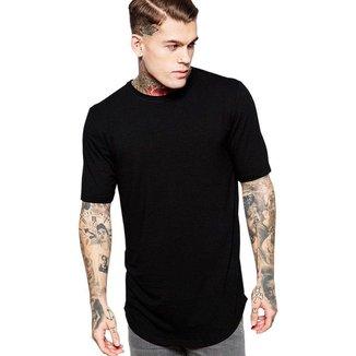 Camiseta Oversized Long Line Lisa Algodão Masculina