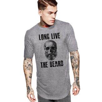 Camiseta Oversized Long Line Long Live The Beard Es_207 Partiucompras Masculina