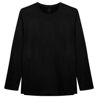 Camiseta Plus Size Basicamente Gola C Manga Longa Masculina