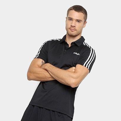 Camiseta Polo Adidas D2M 3S Masculina Masculino-Preto+Branco