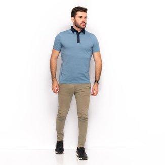 Camiseta Polo Malha Teodoro Slim Lisa Casual Masculina