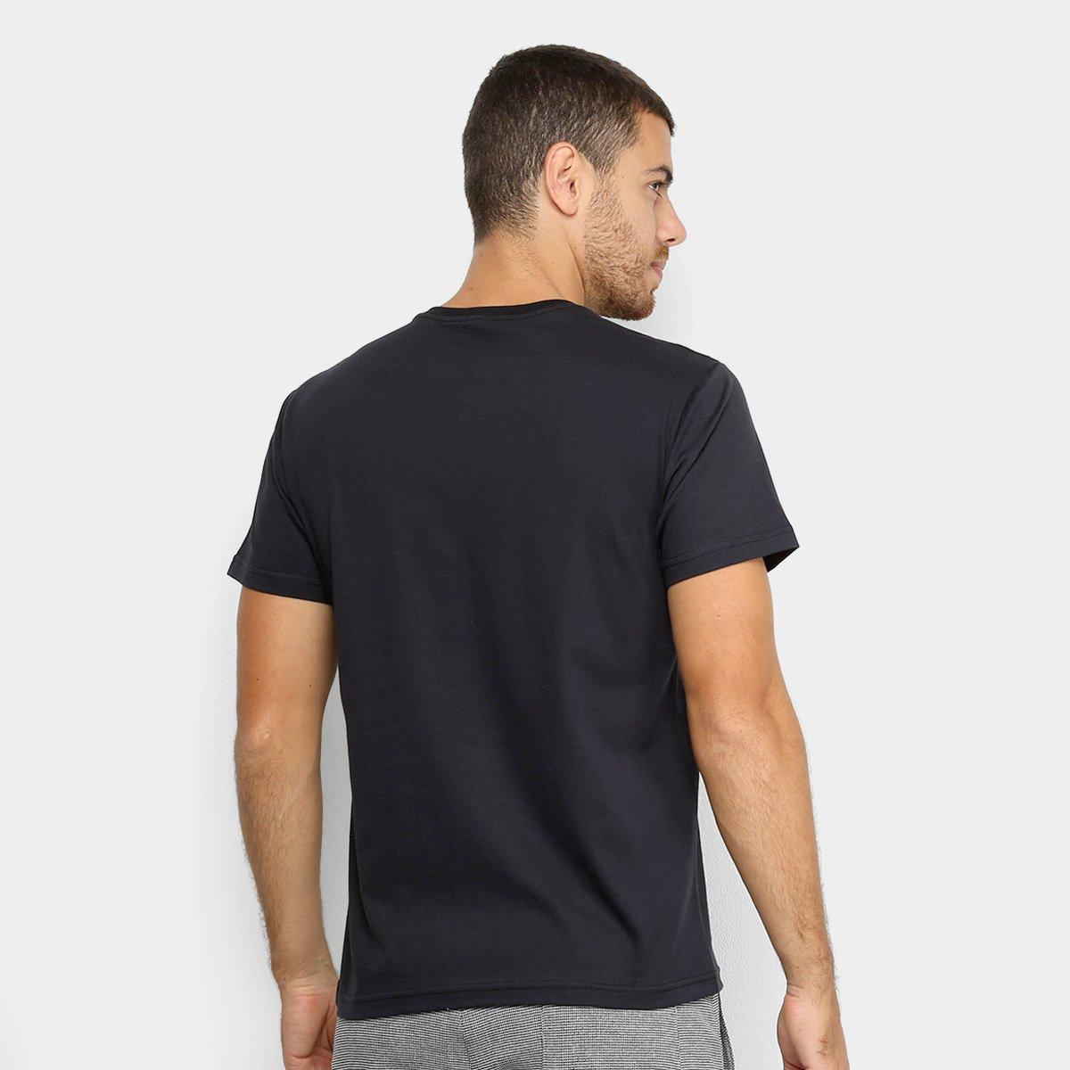 Camiseta Polo RG 518 Estampa Relevo Masculina - Preto