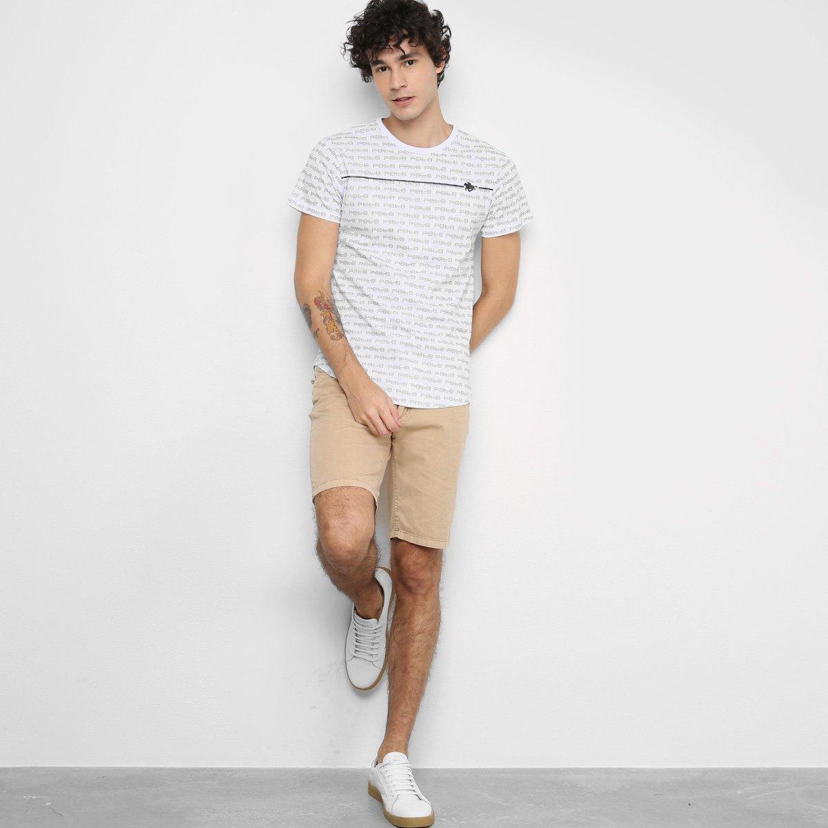 Camiseta Polo RG 518 Logo Masculina - Branco
