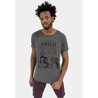 Camiseta Premium Stone Corte a Fio Nirvana masculina