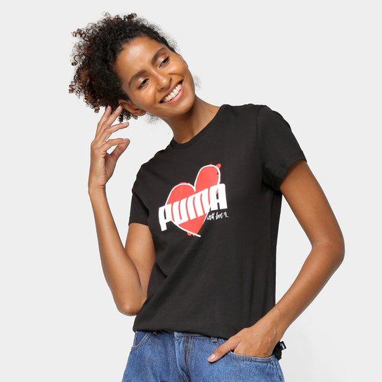 Camiseta Puma Heart Feminina - Preto