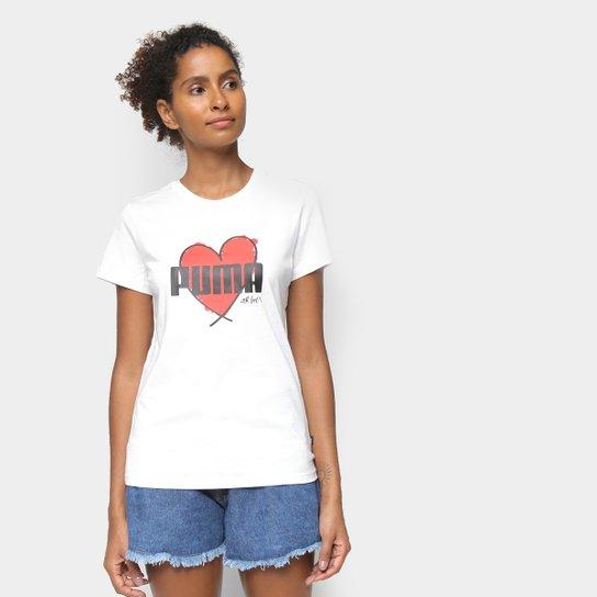 Camiseta Puma Heart Feminina - Branco