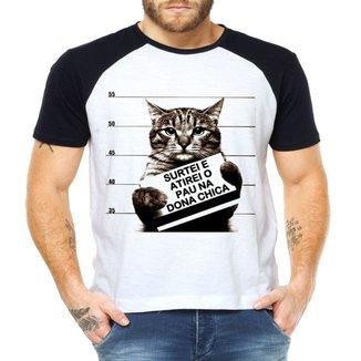 Camiseta Raglan Criativa Urbana Gato Preso Frase Engraçada