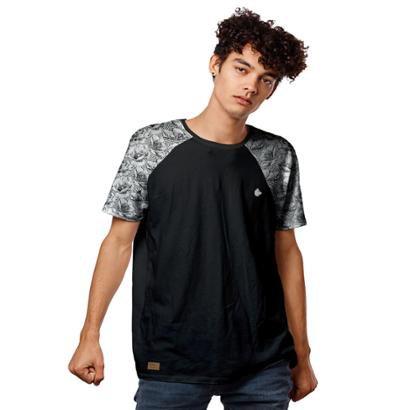 Camiseta Raglan Floral Masculina