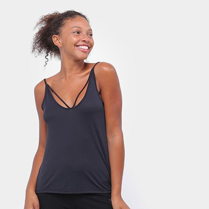 Camiseta Regata Alto Giro Sheer Com Rolete Feminina