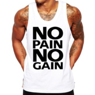 Camiseta Regata Criativa Urbana Frases No Pain No Gain Academia