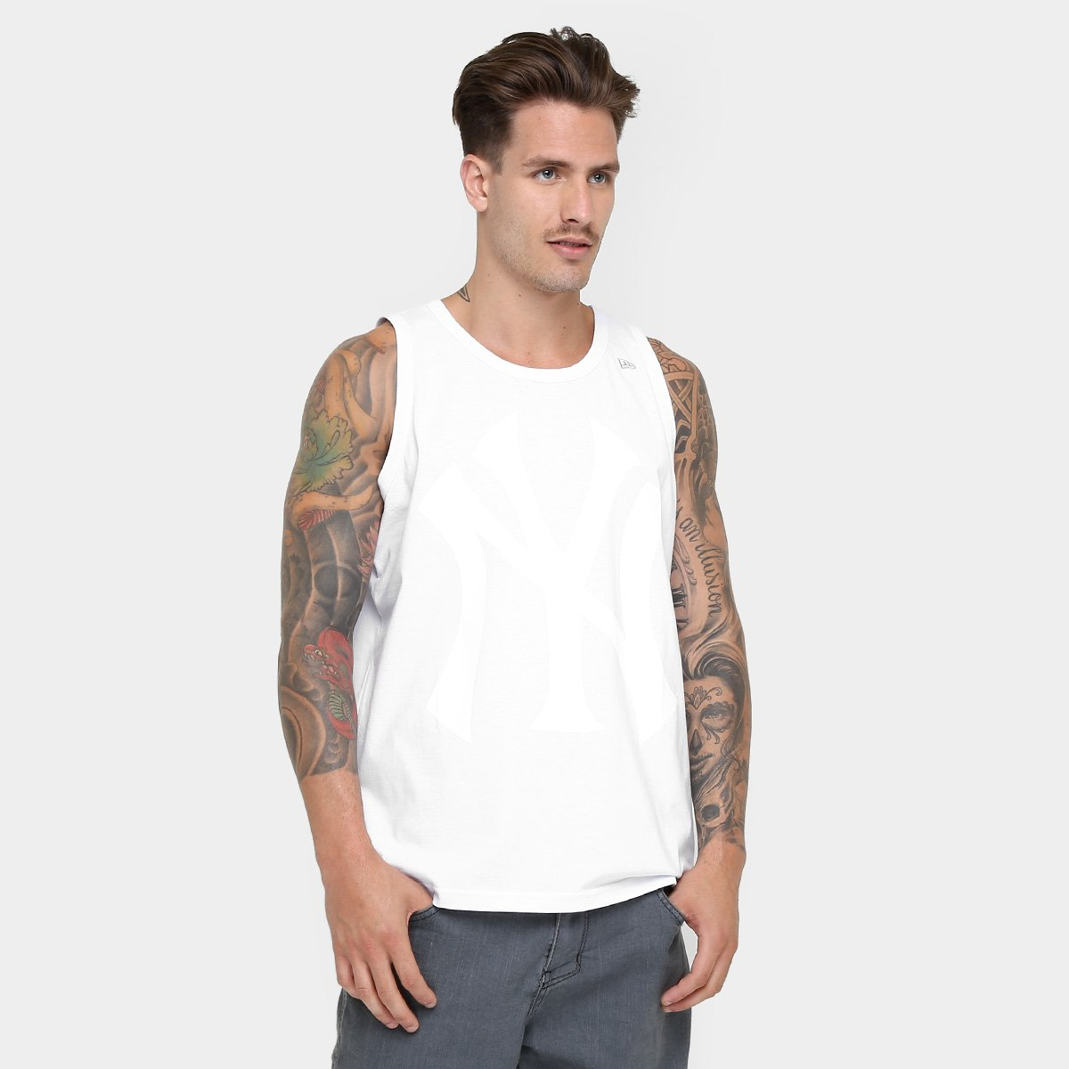 Camiseta Regata New Era MLB New York Yankees - Branco - Compre Agora ... 797deb49440