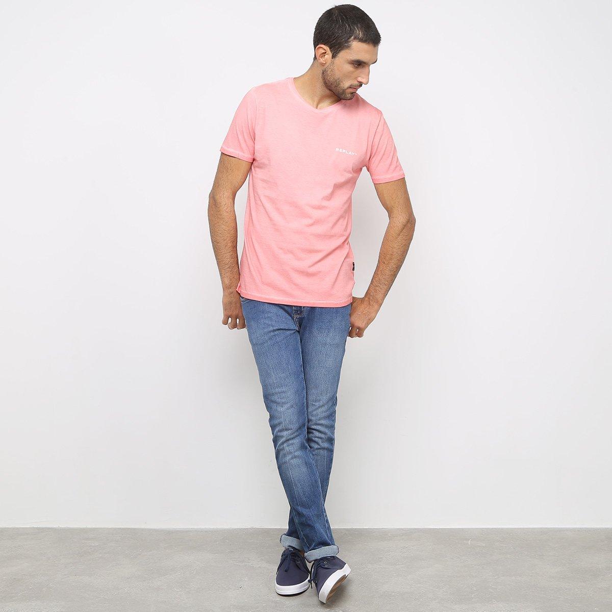 Camiseta Replay Básica Lisa Masculina - Rosa
