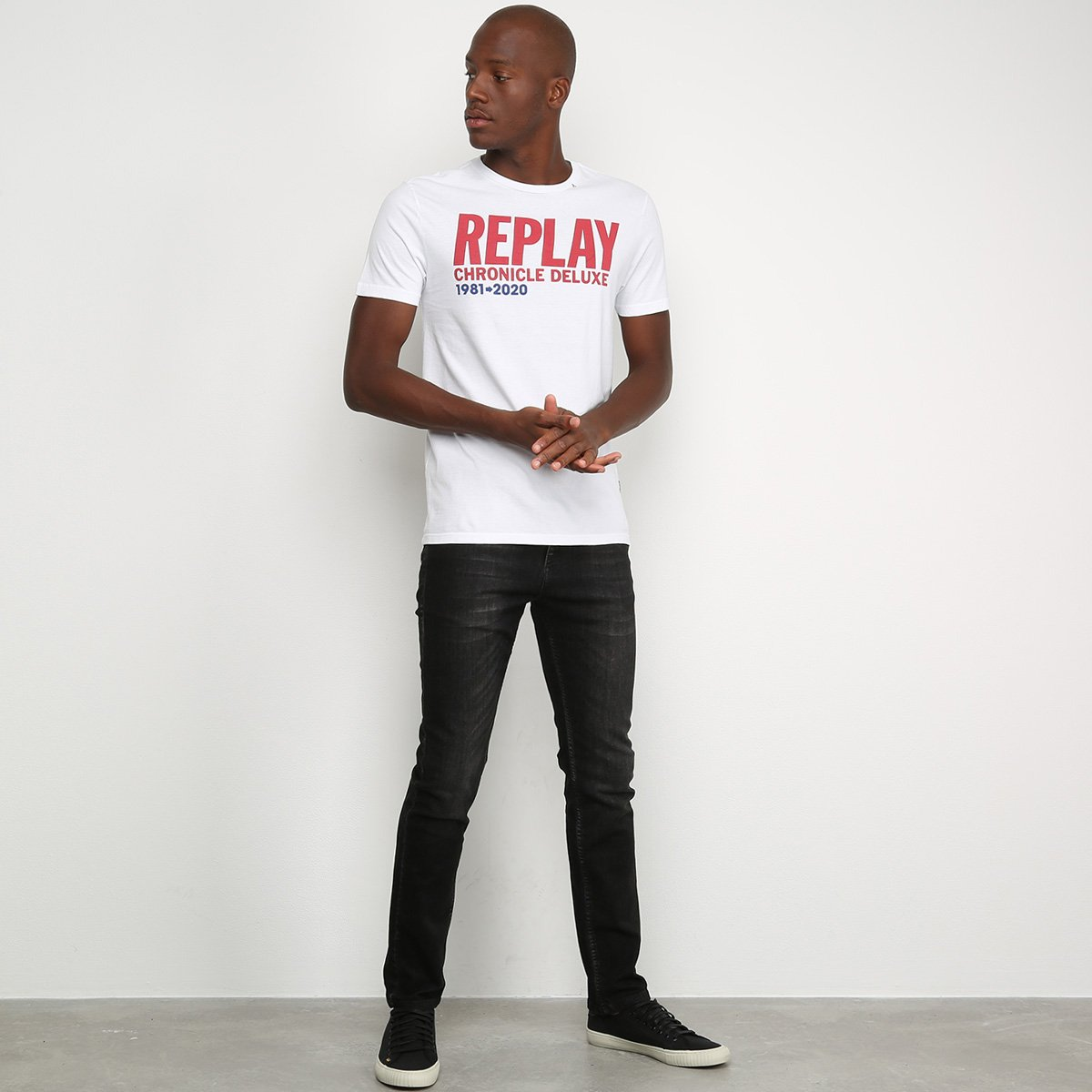 Camiseta Replay Chronicle Deluxe Masculina - Branco