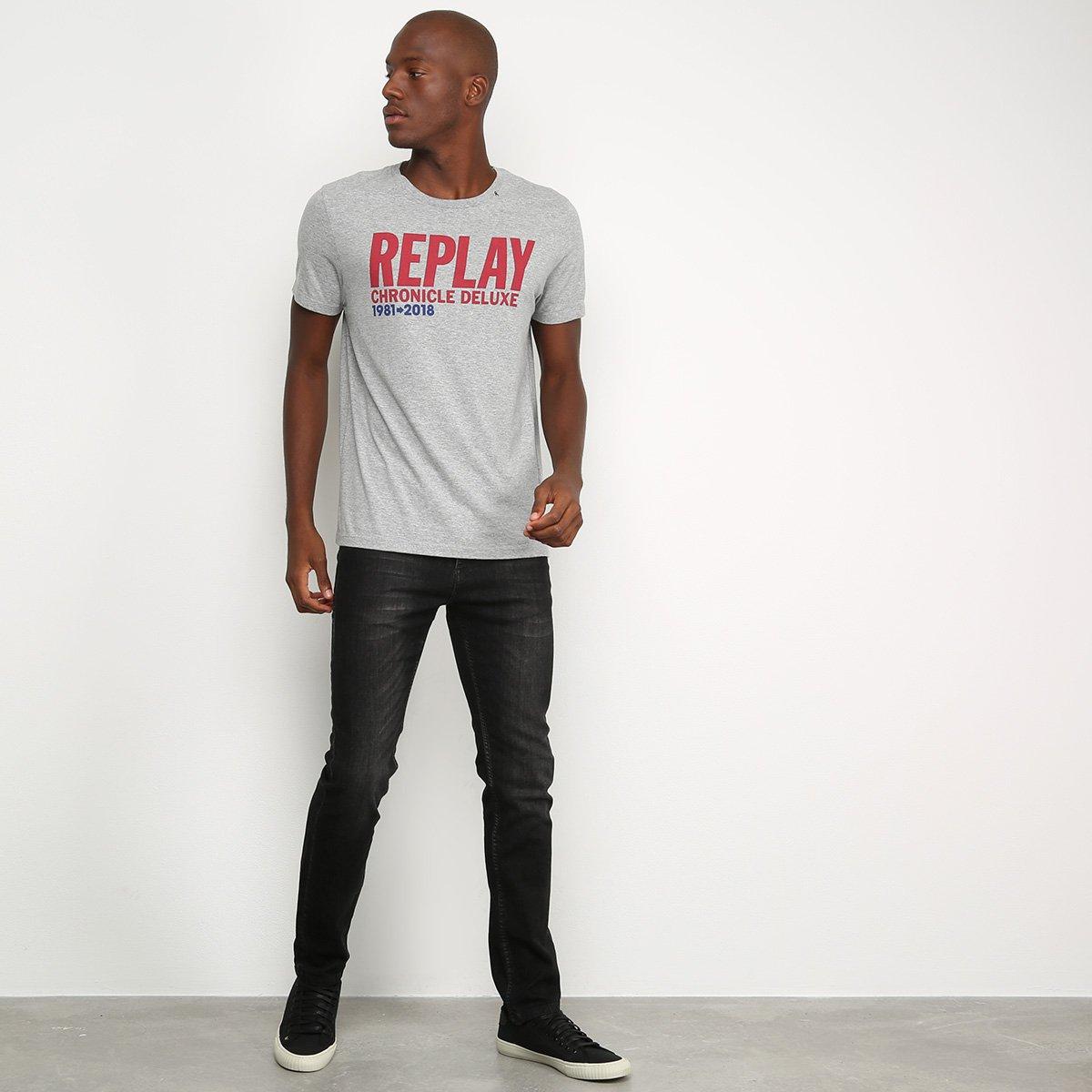 Camiseta Replay Chronicle Deluxe Masculina - Mescla