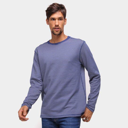 Camiseta Reserva Dupla Face Trancadeira Manga Longa Masculina - Azul Escuro