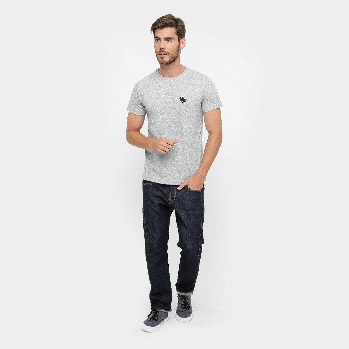 Camiseta RG 518 Básica Bordado - Cinza