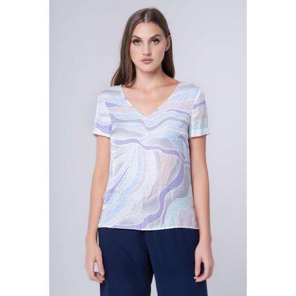 Camiseta Sagena De Crepe Estampada Shell Lilás 50 / Lilás