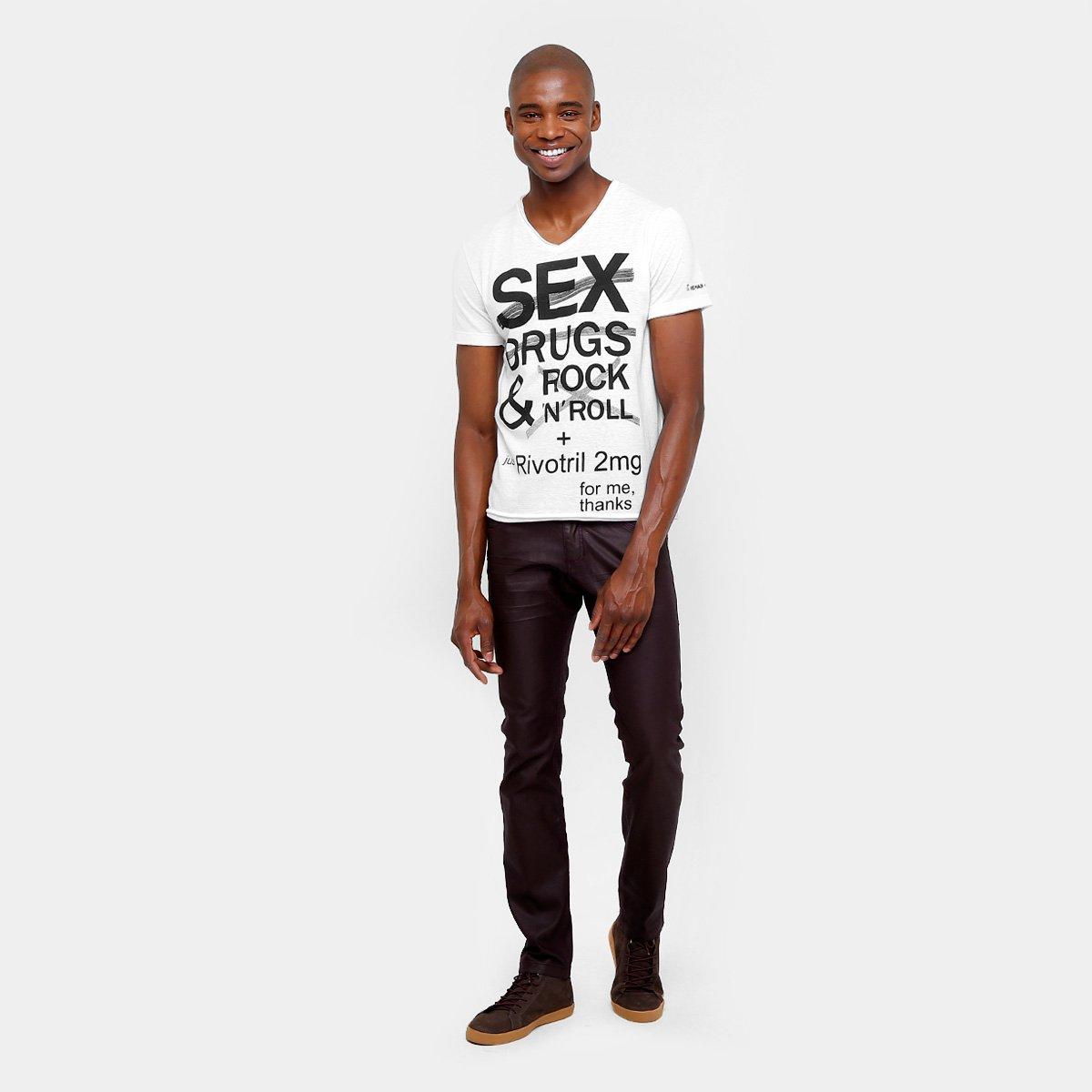 5d0b1ed62a Camiseta Sergio K Rock Masculina - Branco - Compre Agora