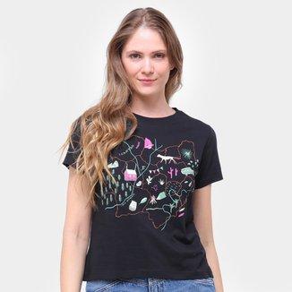 Camiseta Slim Cantão Mapa Feminina