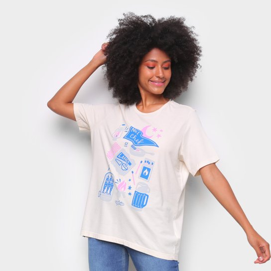 Camiseta T-Shirt Cantão Boyfriend Chef Feminina - Off White