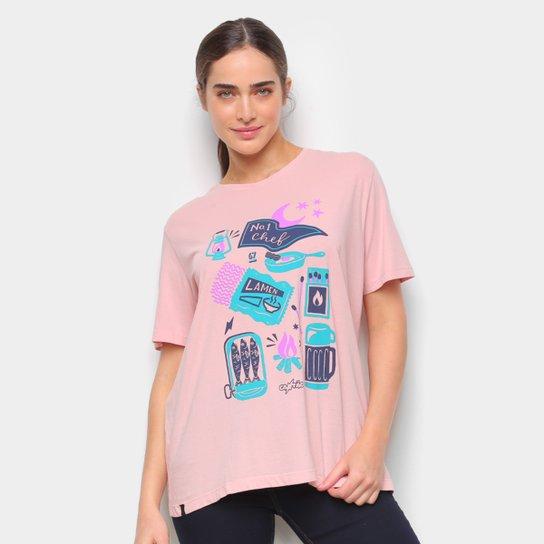 Camiseta T-Shirt Cantão Boyfriend Chef Feminina - Rosa