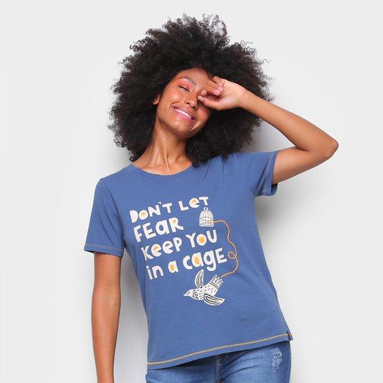 Camiseta T-Shirt Cantão Classic Cage Feminina - Azul Claro