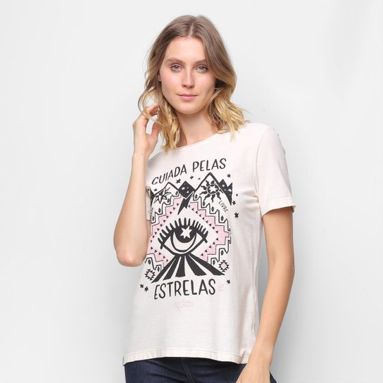 Camiseta T-Shirt Cantão Classic Esotérica Feminina - Off White