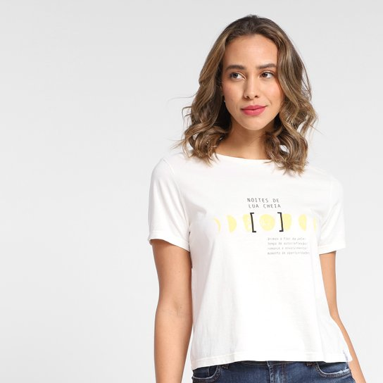 Camiseta T-Shirt Cantão Lua Cheia Babylook Feminina - Off White