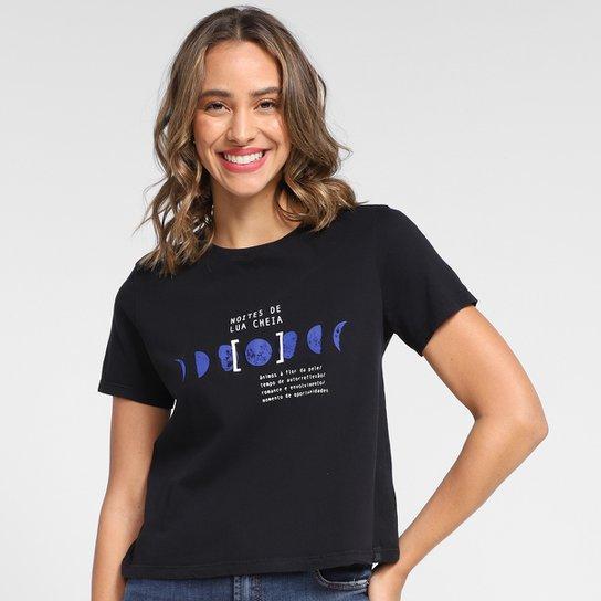 Camiseta T-Shirt Cantão Lua Cheia Babylook Feminina - Preto