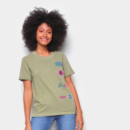 Camiseta T-Shirt Cantão Slim Patches Feminina - Verde escuro