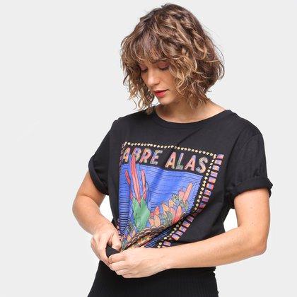 Camiseta T-Shirt Farm Media Silk Abre Asas Feminina