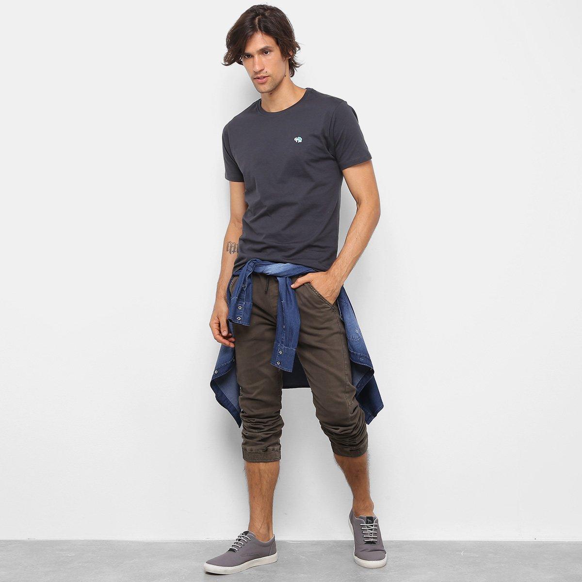 Camiseta T-Shirt Gajang Básica Masculina - Cinza Claro Xc2n1