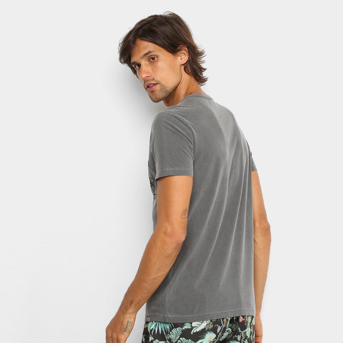 Camiseta T-Shirt JAB Bolso Manga Curta Masculina - Cinza Claro