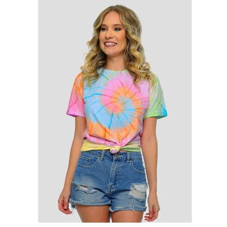 Camiseta Tie Dye Colorido Feminina Sob Manga Curta Espiral