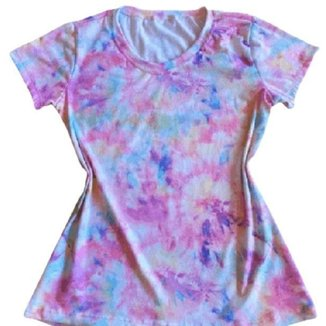 Camiseta Tie Dye Rosa Feminina
