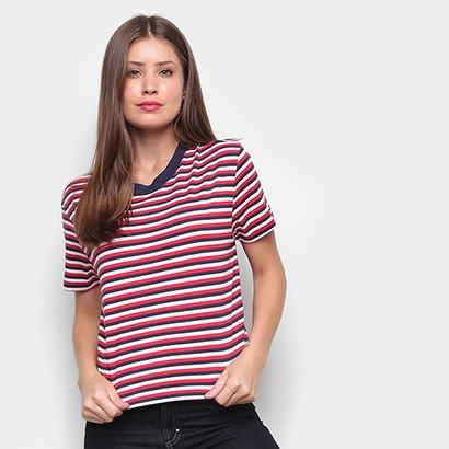 Camiseta Tommy Jeans Contrast Rib Baby Tee Feminina