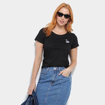 Camiseta Top Moda Bordada Feminina