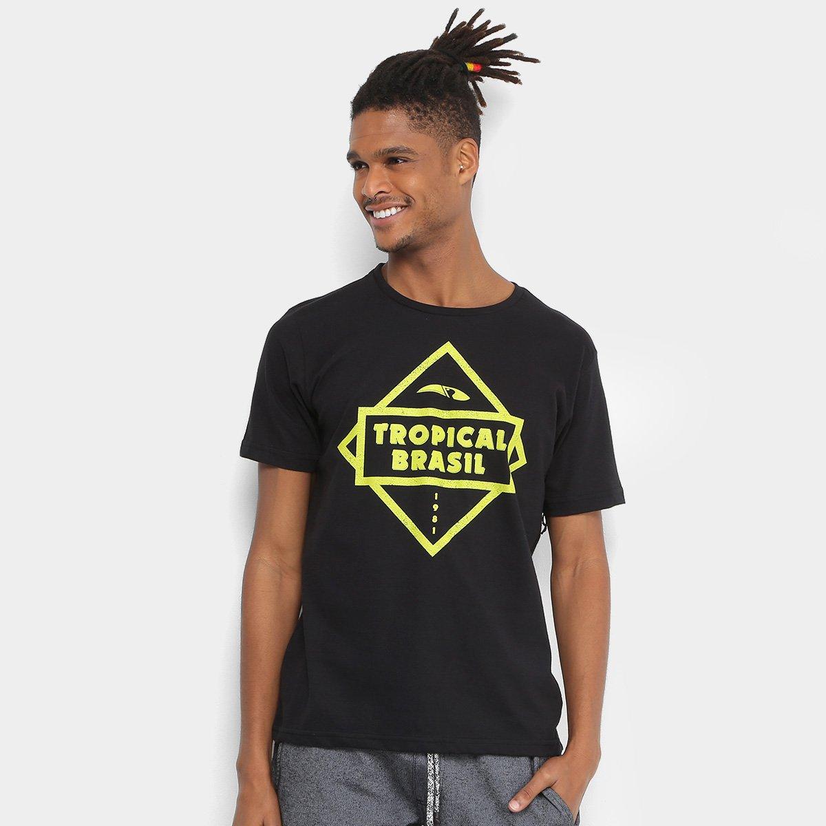 Camiseta Tropical Brasil Estampada Biz Masculina - Preto - Compre Agora  11e17f1c9c5