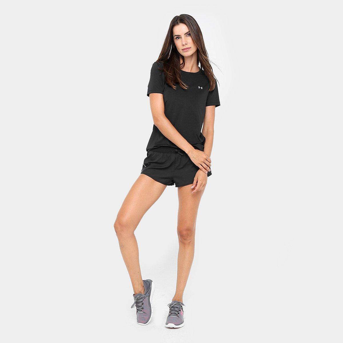 5887494d6f1 Camiseta Under Armour Hg Armour Ss Feminina - Preto e Prata - Compre ...