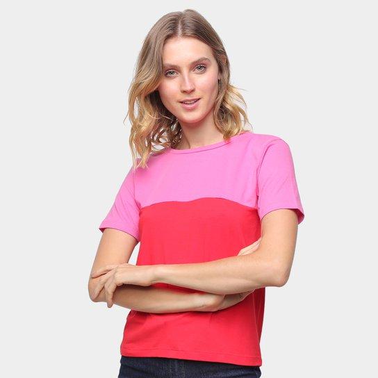 Camiseta Volare Básica Bicolor Feminina - Rosa