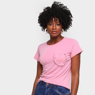 Camiseta Volare Bolso Babados Feminina