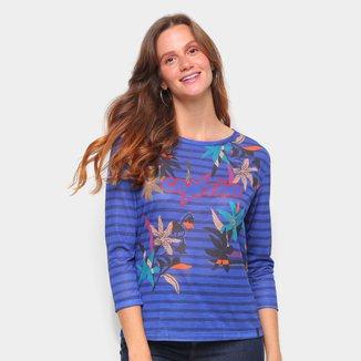 Camisetas Cantão Feminino Tshirt Slim Ml Floral Listras -526087