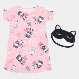 Camisola Infantil Elian + Máscara Gatinha Feminina