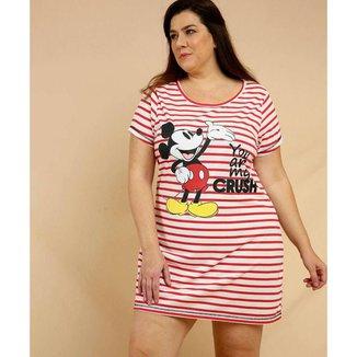Camisola Plus Size Feminina Listrada Mickey Disney - 10046020321