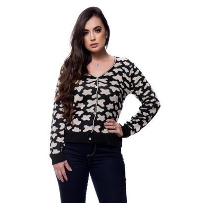 Cardigan Eliza Tricot Tricô Feminino-Feminino