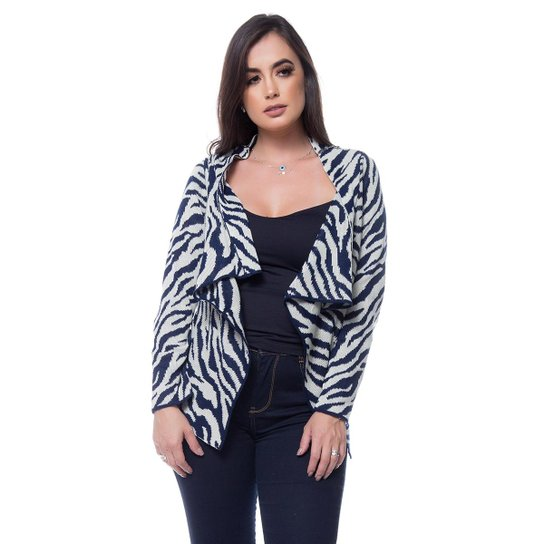 Cardigan Eliza Tricot Zebra Feminino - Azul Escuro