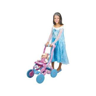 Carrinho de Boneca Frozen Rosa e Azul