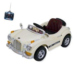 Carro Infantil Eletrico Retro 6V Com Controle Remoto Bege