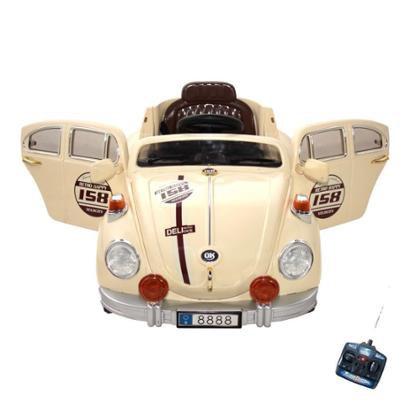 Carro Infantil Fusca Eletrico 6V Com Controle Remoto Bege